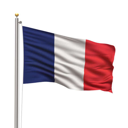 Flag of France with flag pole waving in the wind on front of blue sky photo