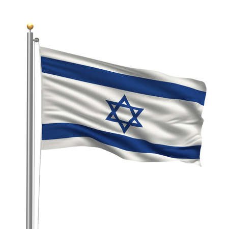 israeli: Bandera de Israel con el m�stil de la bandera ondeando en el viento sobre fondo blanco  Foto de archivo