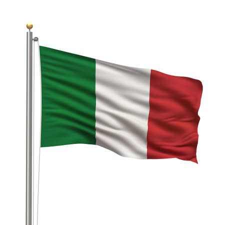 Flag of Italy with flag pole waving in the wind over white background Stock Photo - 8249535