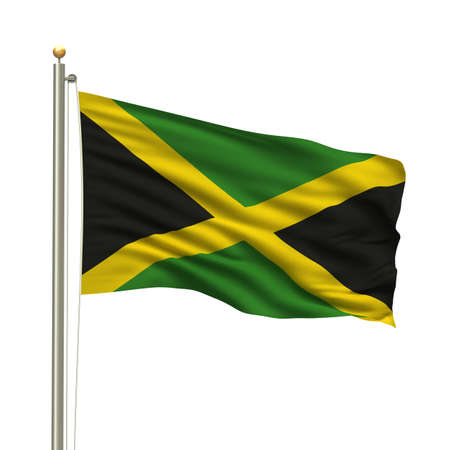 jamaican: Flag of Jamaica with flag pole waving in the wind over white background Stock Photo