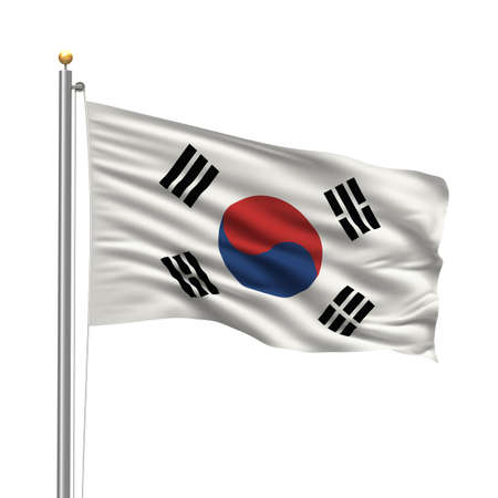 korean national: Flag of Flag of South Korea with flag pole waving in the wind over white background