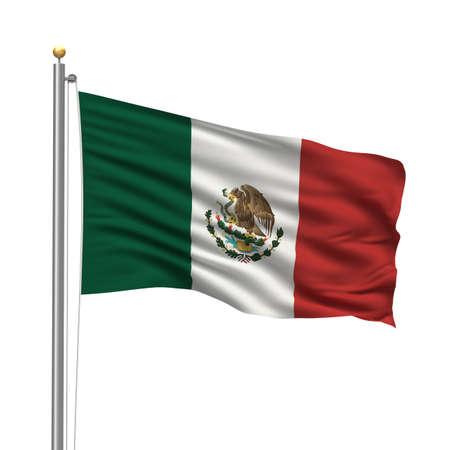 bandera de mexico: Bandera de México con Polo bandera ondeando en el viento sobre fondo blanco