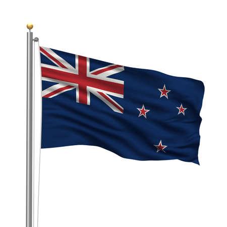 polo: Bandera de Nueva Zelanda con el mástil de la bandera ondeando en el viento sobre fondo blanco