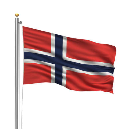 Flag of Norway with flag pole waving in the wind over white background photo