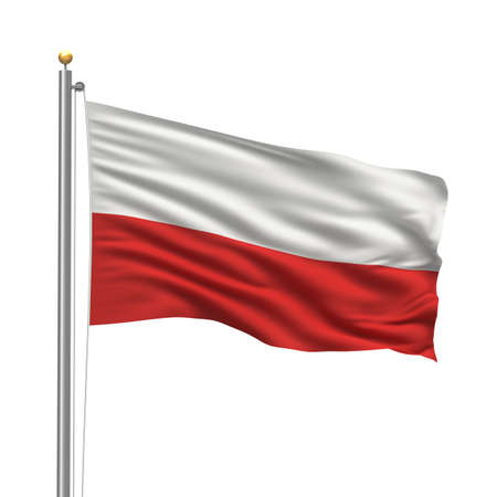 poland: Flag of Poland with flag pole waving in the wind over white background Stock Photo