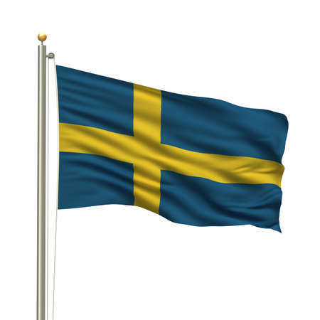 Flag of Sweden with flag pole waving in the wind over white background photo