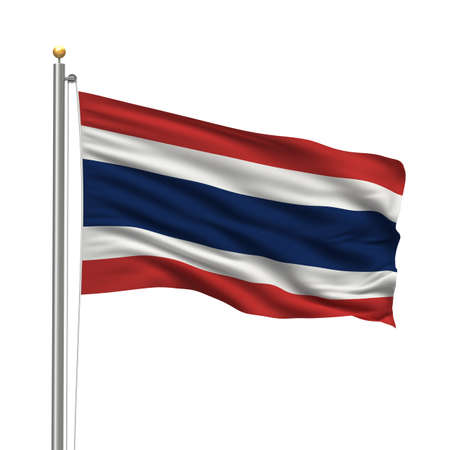 Flag of Thailand with flag pole waving in the wind over white background photo