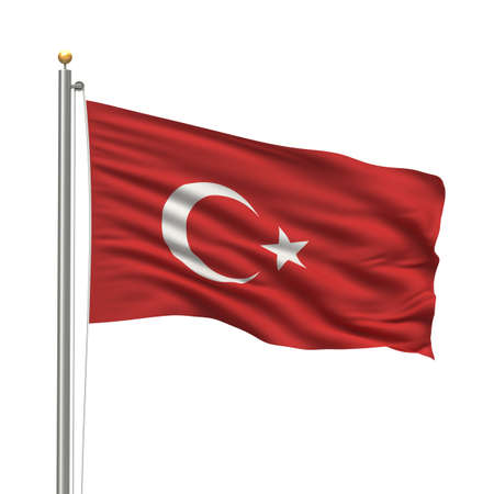turkish flag: Flag of Turkey with flag pole waving in the wind over white background