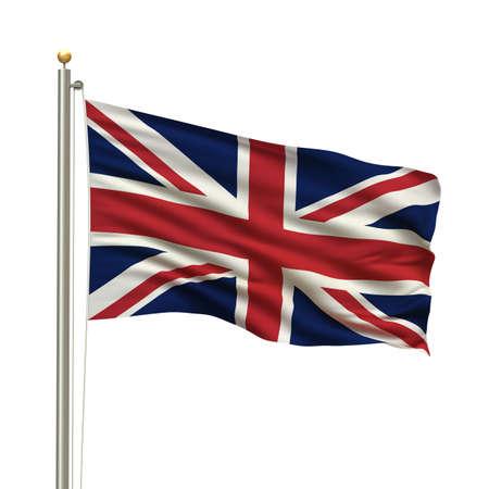 naciones unidas: Bandera del Reino Unido con el m�stil de la bandera ondeando en el viento sobre fondo blanco  Foto de archivo