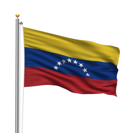 Flag of Venezuela with flag pole waving in the wind over white background photo