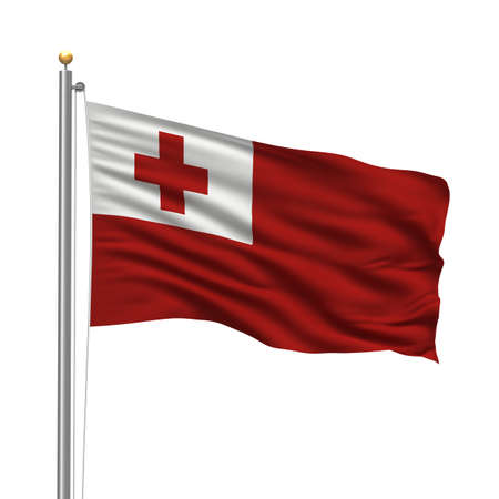 tonga: Flag of Tonga with flag pole waving in the wind over white background