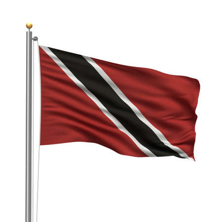 Flag of Trinidad and Tobago with flag pole waving in the wind over white background photo