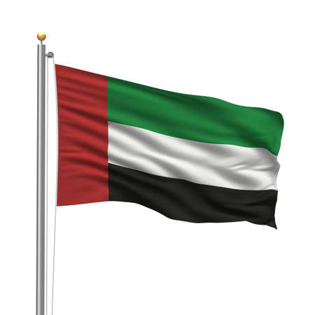 slovakian: Flag of the United Arab Emirates with flag pole waving in the wind over white background