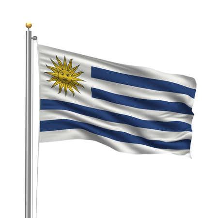 bandera de uruguay: Bandera de Uruguay con el m�stil de la bandera ondeando en el viento sobre fondo blanco  Foto de archivo