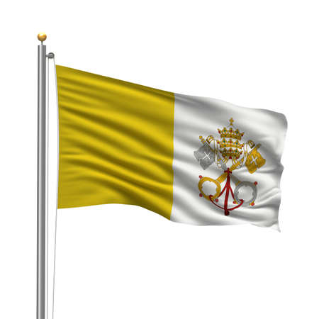 Flag of Vatican City with flag pole waving in the wind over white background