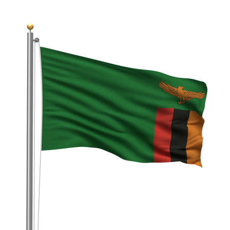 zambia: Flag of Zambia with flag pole waving in the wind over white background Stock Photo