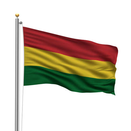 Flag of Bolivia with flag pole waving in the wind over white background photo