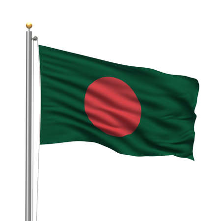Flag of Bangladesh with flag pole waving in the wind over white background photo