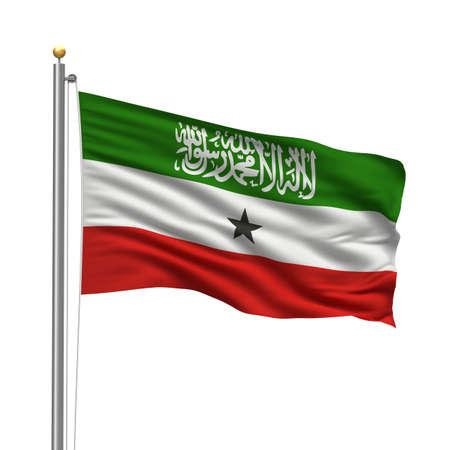 somali: Bandera de Somalilandia con m�stil de bandera ondeando en el viento sobre fondo blanco