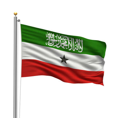 somali: Flag of Somaliland with flag pole waving in the wind over white background Stock Photo