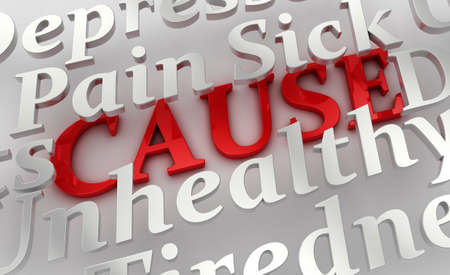 underlying: Conceptual image of health related terms showing an underlying cause
