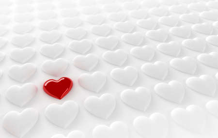 Red heart in between many white hearts Stock Photo - 8738023
