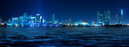 Miami skyline at night with beautiful water reflections Stock Photo - 8738024