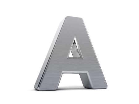 letras cromadas: Letra a como un objeto 3D metal cepillado Foto de archivo