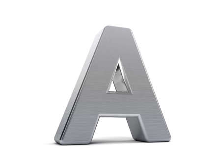 as: Letter A as a brushed metal 3D object