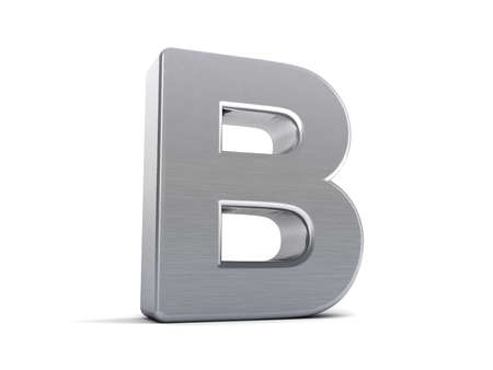 Letter B as a brushed metal 3D object photo