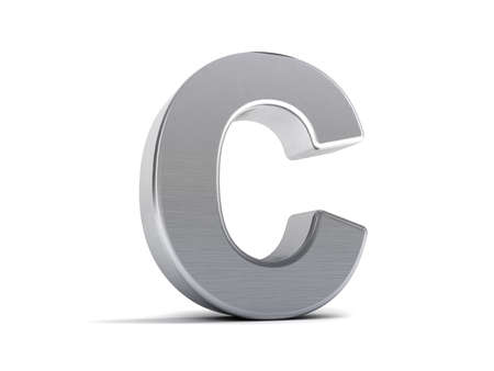 brushed: Letter C as a brushed metal 3D object