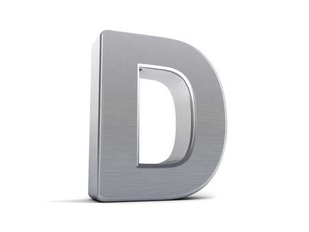 Letter D as a brushed metal 3D object Stock Photo - 8853438