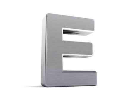 Letter E as a brushed metal 3D object photo