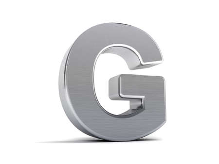 Letter G as a brushed metal 3D object photo