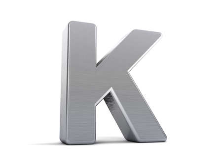 Letter K as a brushed metal 3D object photo