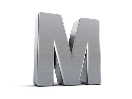 Letter M as a brushed metal 3D object photo