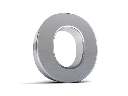 brushed steel: Letter O as a brushed metal 3D object