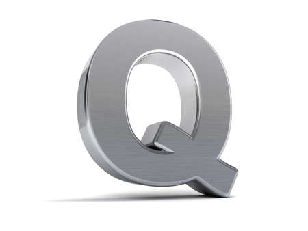 Letter Q as a brushed metal 3D object photo