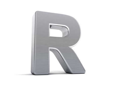Letter R as a brushed metal 3D object photo