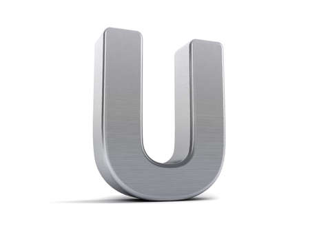 Letter U as a brushed metal 3D object photo