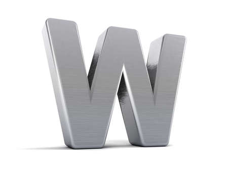 Letter W as a brushed metal 3D object Stock Photo - 8853455