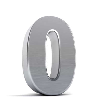brushed: The number zero as a brushed chrome object over white