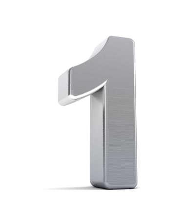 numero uno: Il numero uno, come un oggetto di cromo spazzolato over white