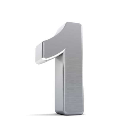 solid silver: The number one as a brushed chrome object over white Stock Photo
