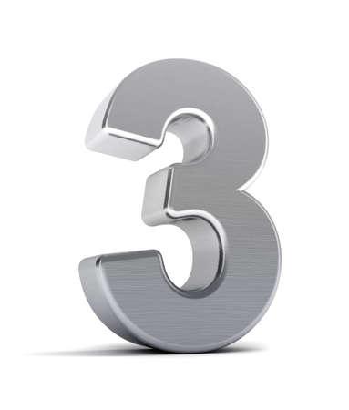 trois: Le num�ro trois comme un objet de chrome bross� sur blanc Banque d'images