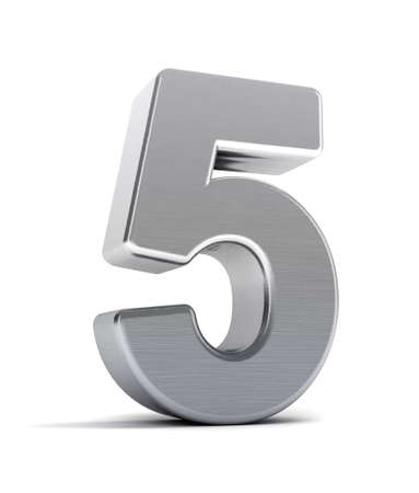 five elements: The number five as a brushed chrome object over white Stock Photo