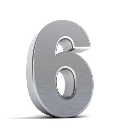 Le numéro six comme un objet de chrome brossé sur blanc Banque d'images - 8853467