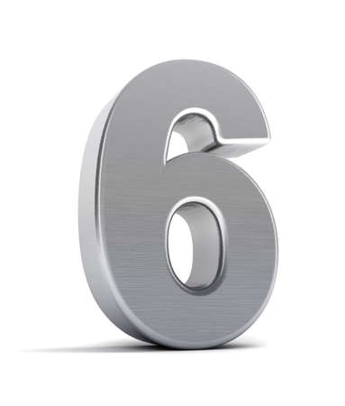 The number six as a brushed chrome object over white Stock Photo - 8853467