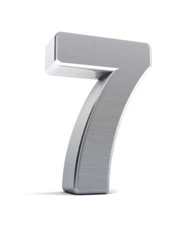 seven: The number seven as a brushed chrome object over white