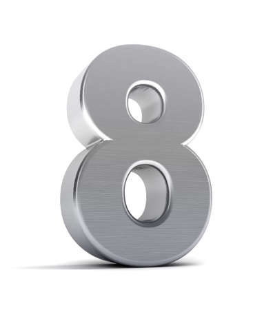 The number eight as a brushed chrome object over white Stock Photo - 8853466